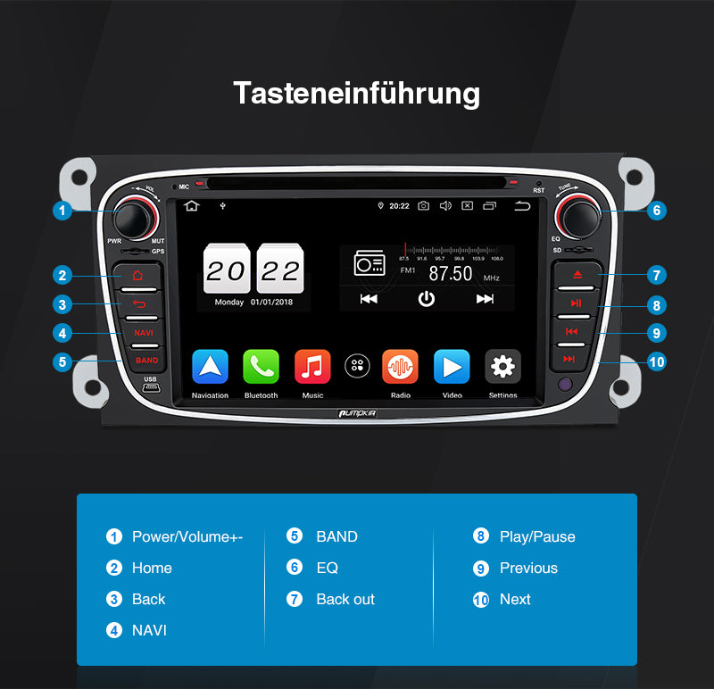 Android 10 Autoradio ford focus radio