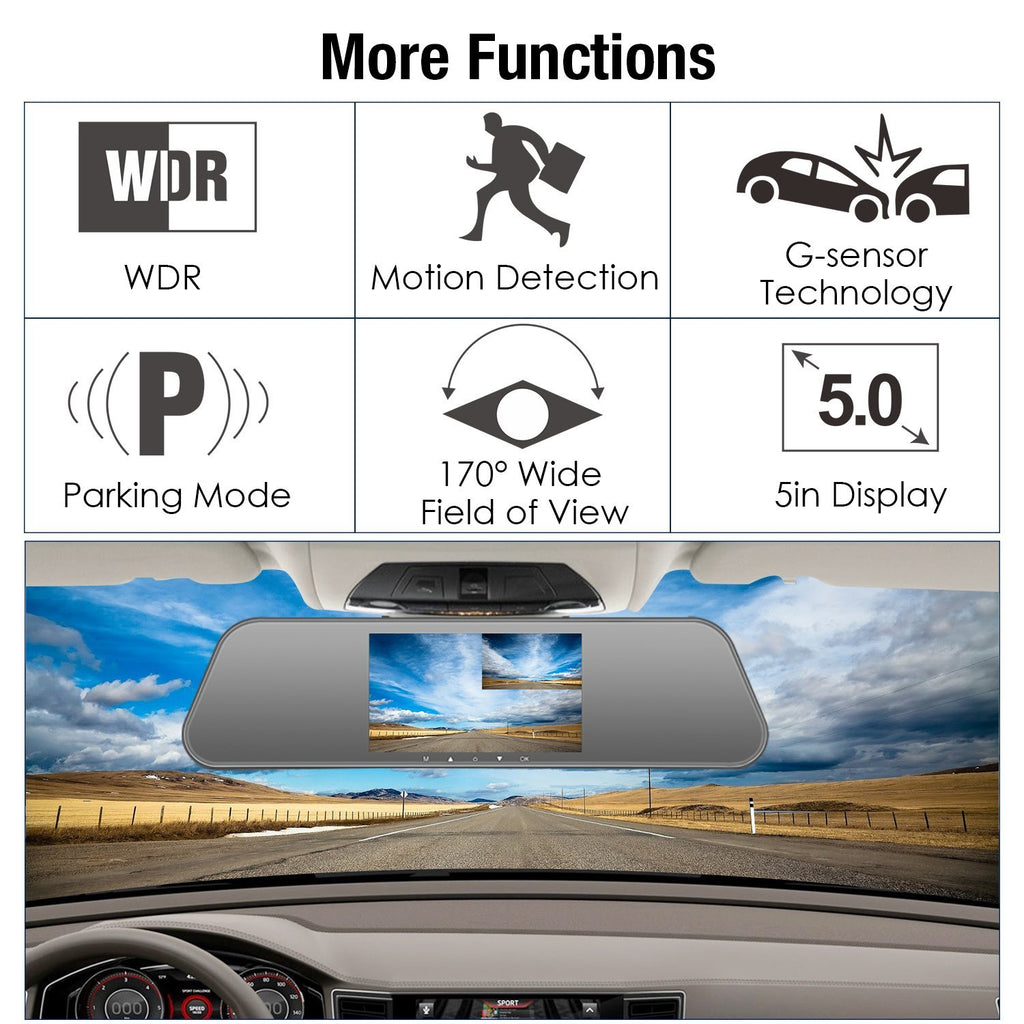 "Mirror Dash Cam Front and Rear 1080P+ 720P, 5"" IPS Touch Screen Dual Camera with Superior Night Vision, Motion Sensor, Rear View Camera, G-Sensor, Parking Monitor"