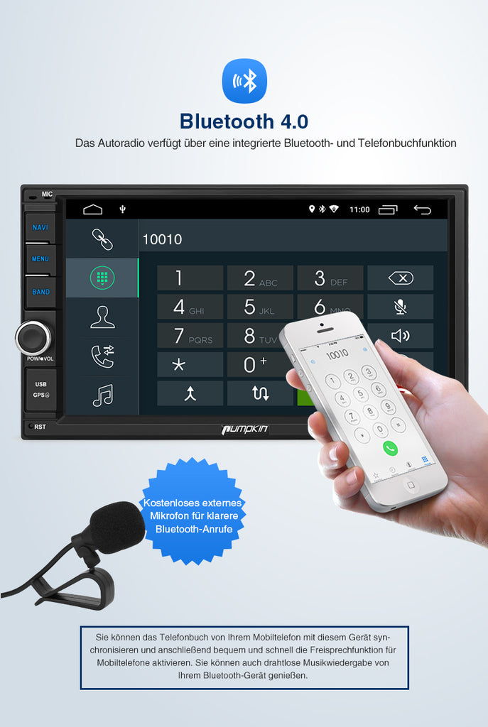Pumpkin Android 10 Autoradio Built-in DSP Car Stereo with Bluetooth  Unterstützung Android Auto CarPlay DAB +