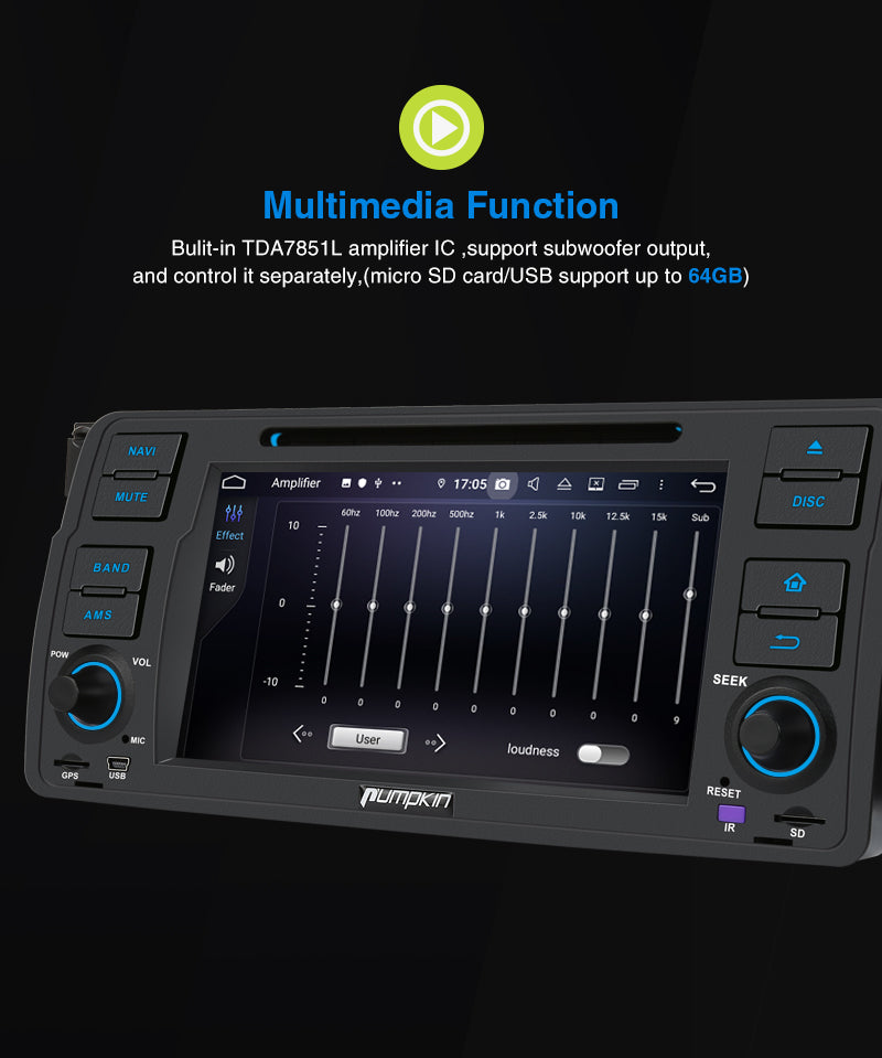 Pumpkin Android 9.0 Radio Single Din für BMW E46 Autoradio mit CD Player USB MP3 Rückfahrkamera