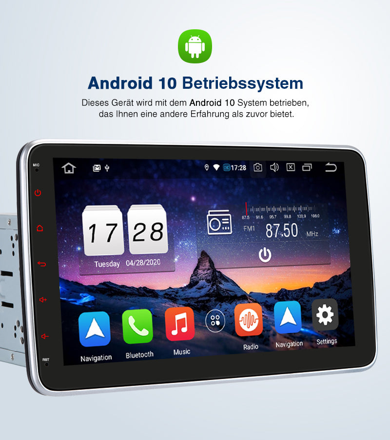 "Pumpkin 10.1"" Android 10 Doppel Din Autoradio mit Drehbare Touchscreen Navigation Bluetooth, Kompatibel mit Android Auto Carplay Split Screen-Modus"