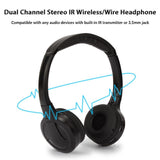 Wireless Headphones, Car Kids Headphones, IR Headphones for Car Entertainment System, Wireless IR Headphones with Dual Channel
