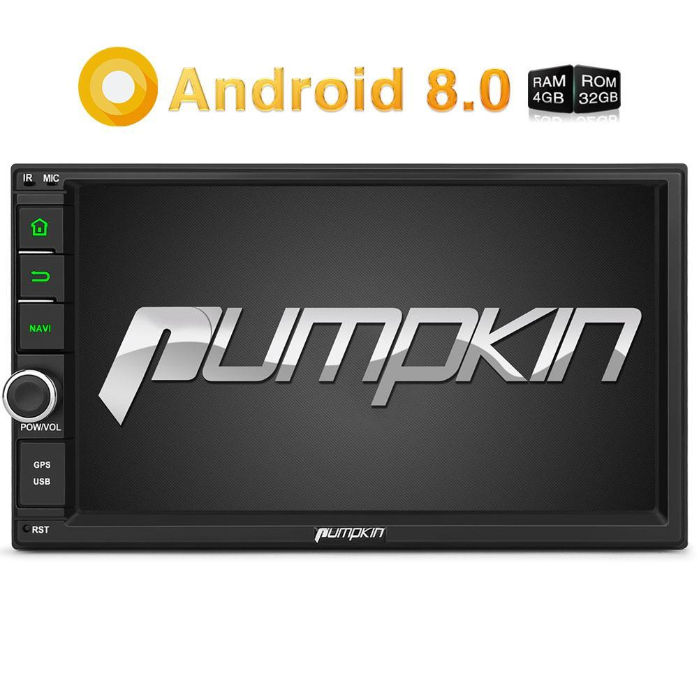 Pumpkin Android 8.0 Universal Autoradio 7 Zoll Touchscreen Dopple Din Octa Core with GPS Navi (4GB+32GB)