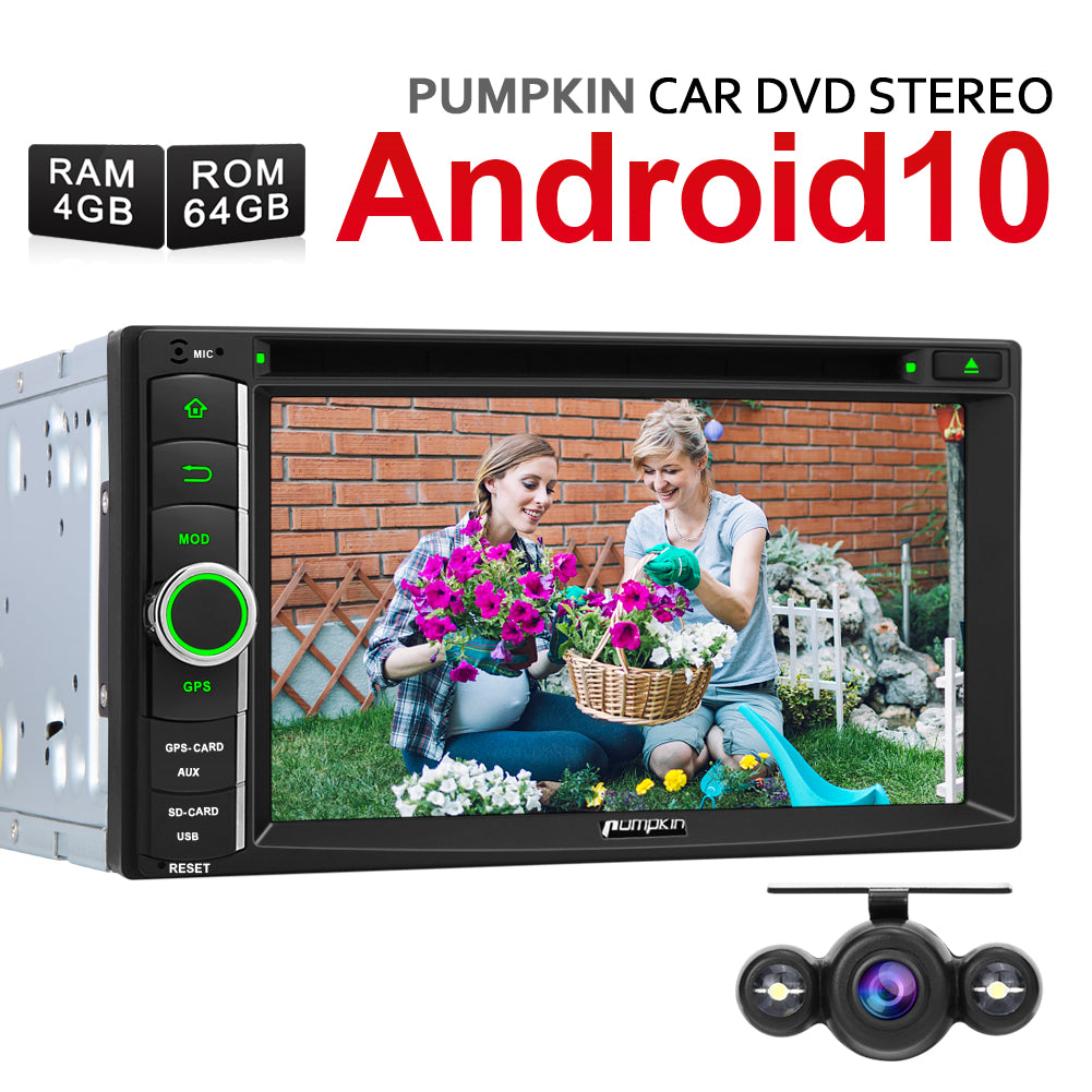 "Pumpkin 6.2"" Doppel Din Android 10 Autoradio DVD Player mit Navi Bluetooth Kamera AV-OUT"