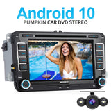 Pumpkin 7 Zoll Volkswagen Android 10 Radio Bluetooth für VW Golf 5 Golf 6 Passat B7 Beetle Touran mit Rückfahrkamera Unterstützt Carplay Android Auto DAB+OBD2
