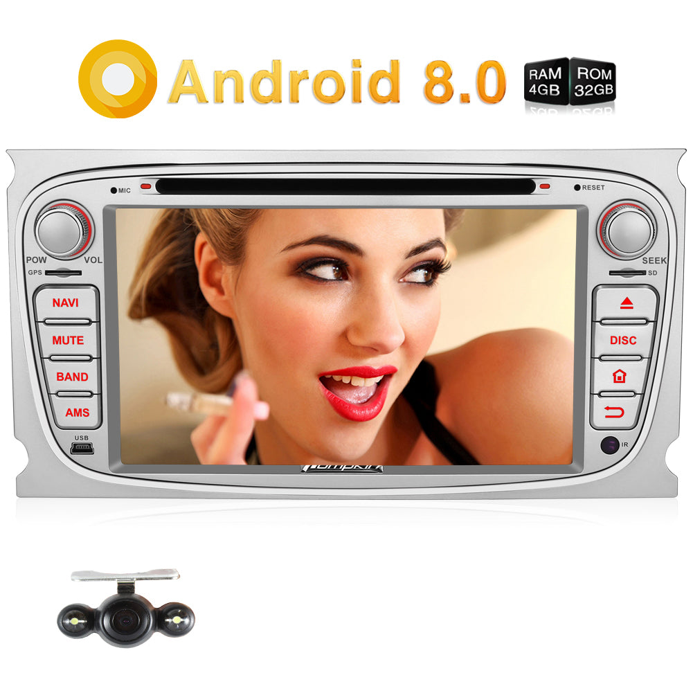 Doppel Din 7 Zoll 1024 * 600 Touchscreen Android 8.0 Autoradio mit CD Player für Focus Galaxy Mondeo S-Max (4+32G)
