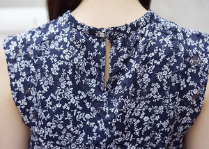 cloudy memories top [Navy×White]