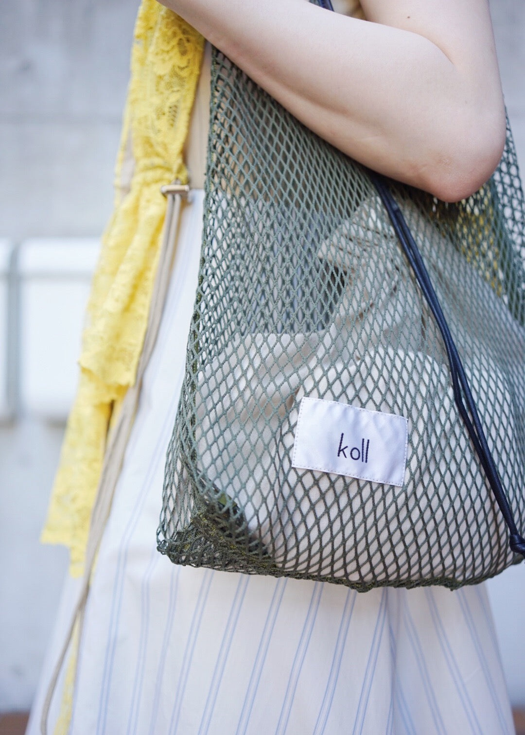 diamond mesh shopping bag [MossGreen×Beige]