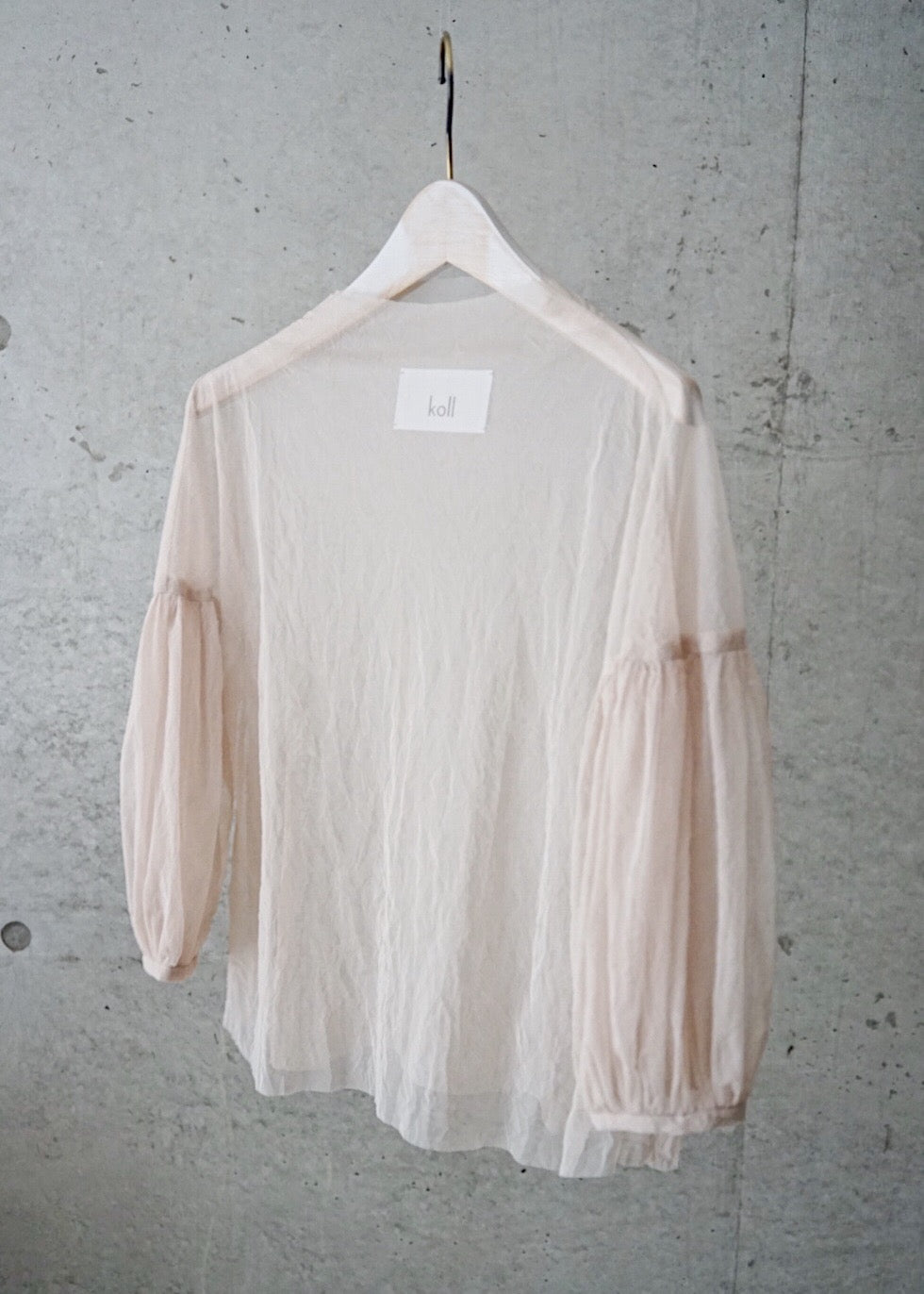 crease tulle gathered sleeve top [Beige]