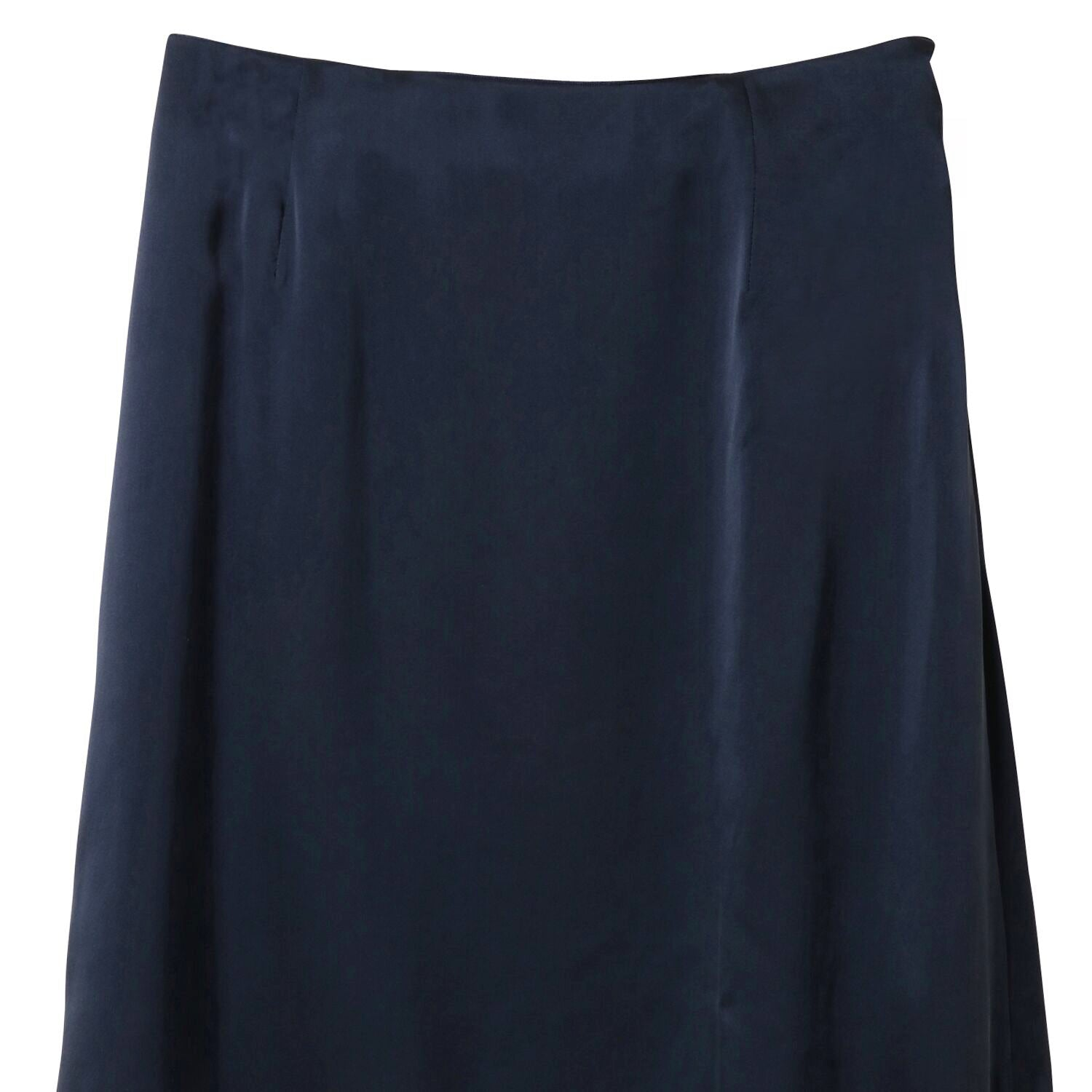 silk satin semi flare skirt [Navy]