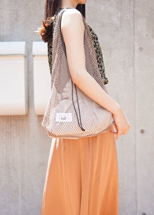 diamond mesh shopping bag [Beige×White]
