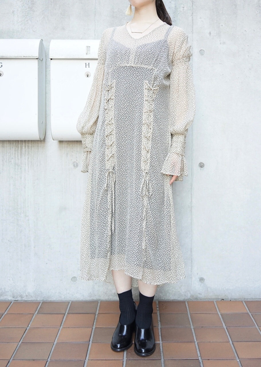 silk crepe lace-up dress