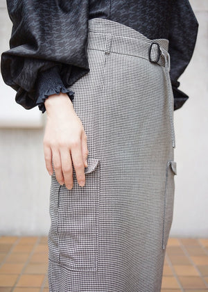 hound's tooth pencil skirt [BLACK]