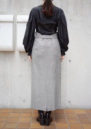 hound's tooth pencil skirt [BROWN]