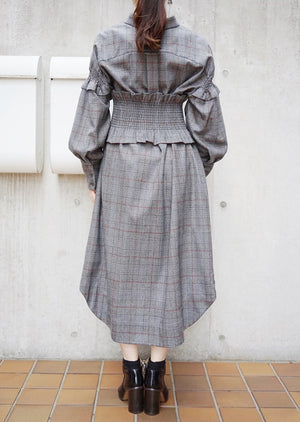 hound's tooth shirt dress [GRAY]