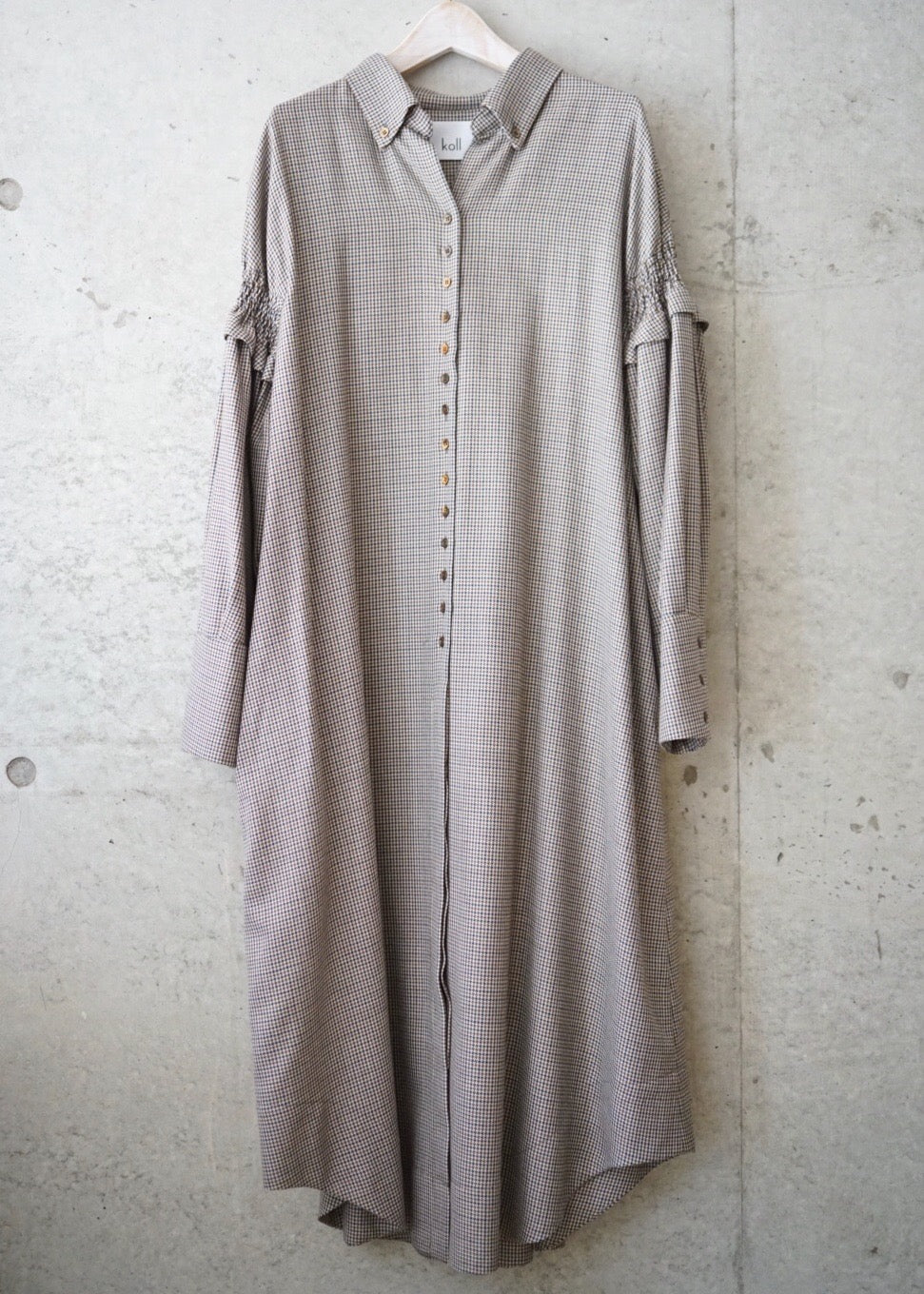 hound's tooth shirt dress [BROWN]