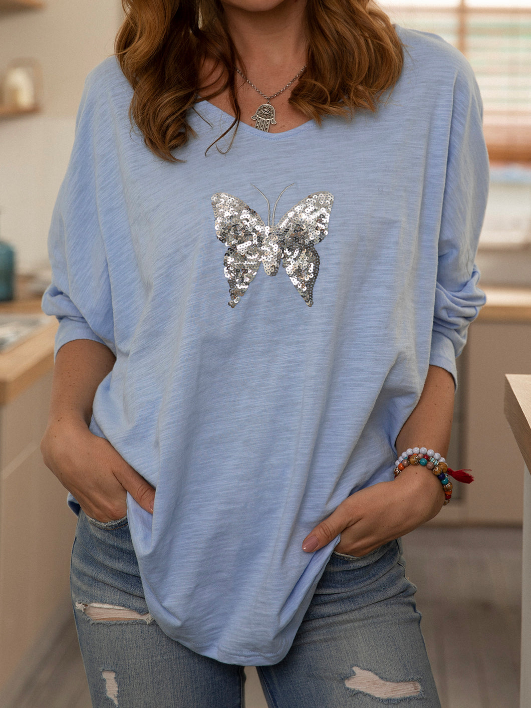 Long Sleeve Beaded Cotton Shirts & Tops