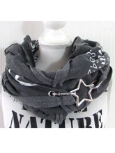 Load image into Gallery viewer, Gray Cotton-Blend Printed Scarves & Shawls