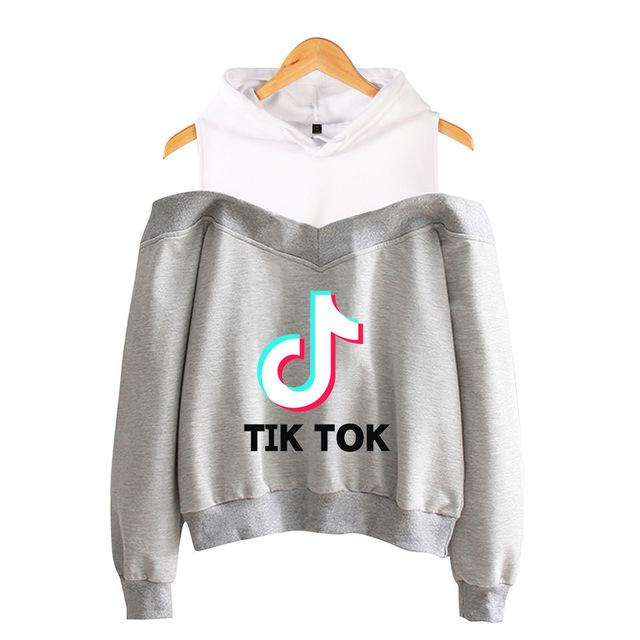 Tik Tok Casual Sports Sweatshirt Off-the-shoulder hooded Hip Hop Streetwear - Cadeau Me