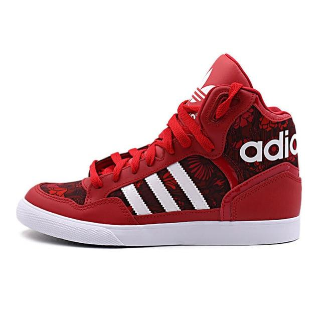 Adidas Originals Series Red Women Sneakers Breathable Leather Trainers Classic Lace-up High Adidas Women Sports Shoes