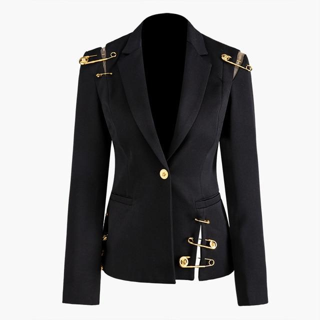 Black Hollow Out Pin Spliced Jacket New Lapel Long Sleeve Women Coat Fashion Tide Autumn Winter 2019 JZ500