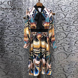 Qian Han Zi spring/summer designer fashion women dress Slim elegant dress bow collar Peacock feather print beach dress