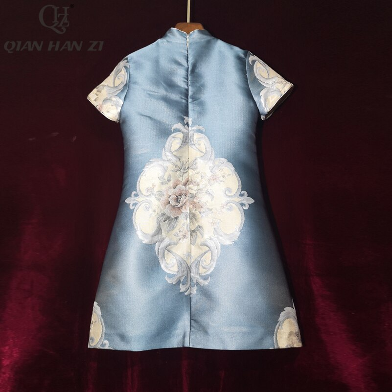 Qian Han Zi Summer Dress Women's Short Sleeve Stand Collar Chinese Knot Beaded Applique Dress Printed fashion jacquard dress