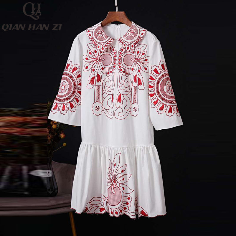 Qian Han Zi 2020 designer runway 100% cotton fashion summer dress Women's 3/4 Sleeve Elegant Loose Casual embroidered Dress