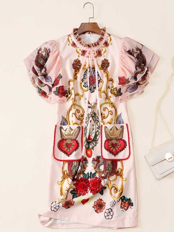 Qian Han Zi 2020 Fashion Designer Autumn Dress Women's ruffled sleeves elegant sweet print beaded luxury Straight dress