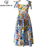 Qian Han Zi Fashion Runway Custom Summer Cotton Dress Women High Quality Painted Pottery Printed Bow Spaghetti Strap Party Dress