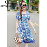 Qian Han Zi 2020 Newest Designer fashion Summer dress Women's short sleeve blue and white porcelain Printed casual dress