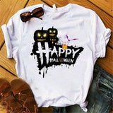 Happy Halloween White Women's T-shirt Casual Short Sleeve Tee Shirt Femme Funny Gothic T Shirt Harajuku Hip Hop Womens Top