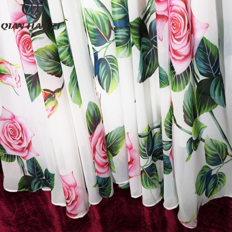 Qian Han Zi Summer Designer Fashion dress Women's Long Sleeve Casual Print Rose Flower White Chiffon Elegant Midi Dress Vestidos