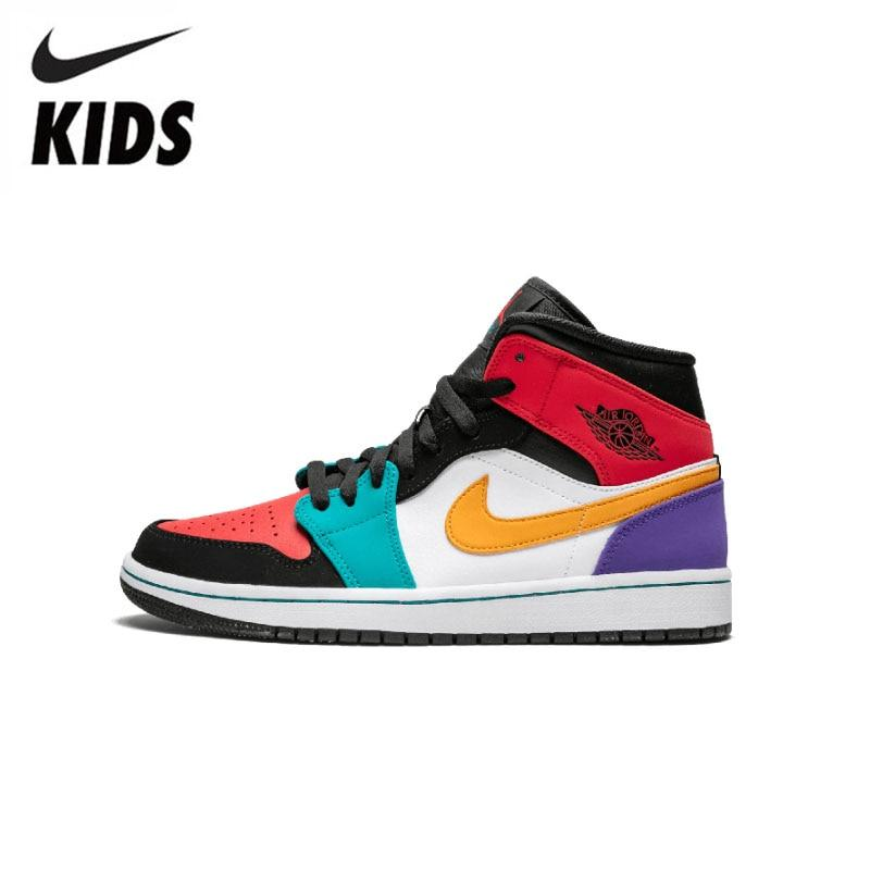 Nike Air Jordan 1 Original New Arrival Kids Shoes Breathable Children Basketball Shoes Outdoor Sports Sneakers #640734-125