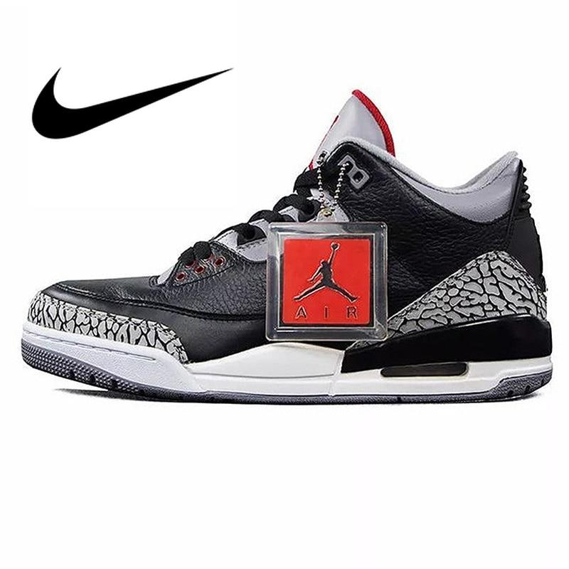 Nike Air Jordan 3 Black Cement AJ3 Men 's Basketball Shoes Sport Outdoor Sneakers Athletic Designer Footwear 2018 New 854262-001