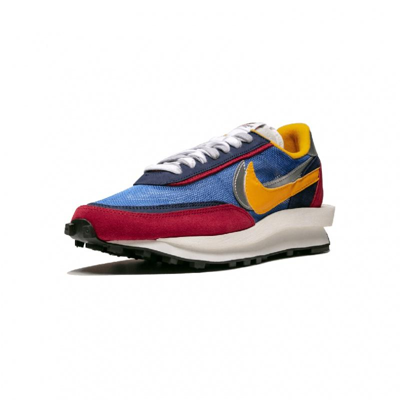 Nike LD WAFFLE x SACAI deconstruction of male retro red and blue running shoes - BV0073 400