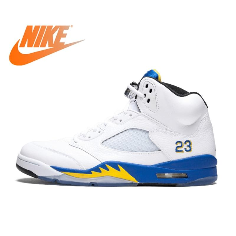 Original Authentic Nike Air Jordan 5 Retro Laney Men's Breathable Basketball Shoes Sport Outdoor Sneakers 2018 New Arrival