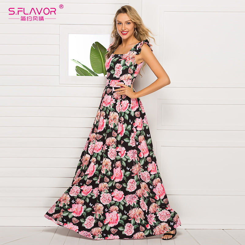 S.FLAVOR 2020 Sleeveless Printing Maxi Dress Elegant Square Collar Women Long Dress Summer Fashion Boho Vestidos De