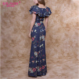 S.FLAVOR 2020 Women Robe Floral Print Long Dress Vintage Square Collar Ruffle Sexy Dress Short Sleeve Elegant Party Vestidos