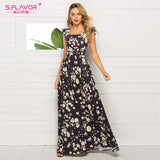 S.FLAVOR Elegant Sleeveless Party Long Dresses 2020 New Arrival Square Collar Print Women Dress Vintage Summer Dresses