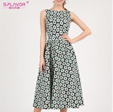 S.FLAVOR Vintage Sleeveless Printing Dress Elegant Floral Printed A-line Vestidos De Women Casual Summer Midi Dress