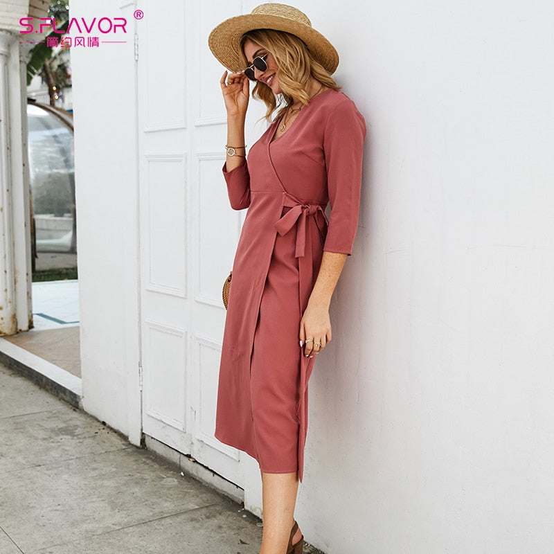S.FLAVOR Women Summer Pencil Dress Elegant Slim V-neck Tea Break Midi Dress Red Color Sexy Working Dress For Office Lady