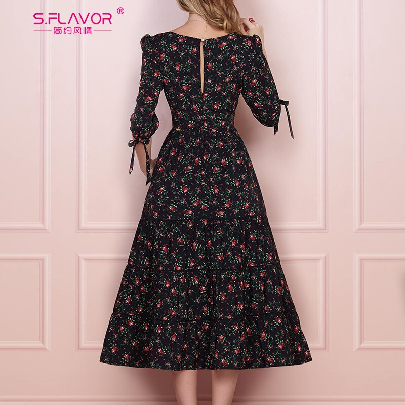 S.FLAVOR Women Vintage Boho Floral Printed Dress 2020 Summer Three Quarter Sleeve V Neck Party Dress Elegant A Line Dress