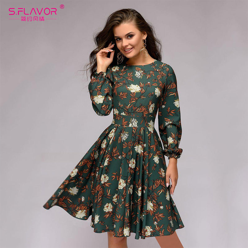 S.FLAVOR Women printing A-line Casual Dress 2020 Summer Petal Long Sleeve Slim Vestidos Female Vintage Midi Dress