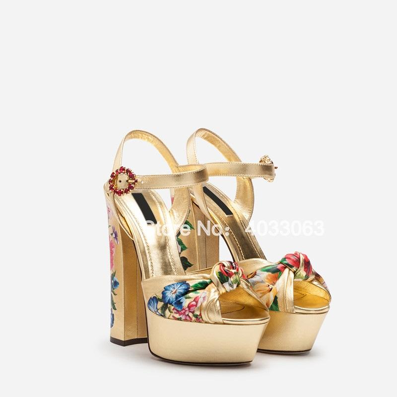 Sandalias Mujer 2019 Women Gold Shoes Flower Printing High Heels Platform Sandals Buckle Strap Peep Toe Party Dress Shoes - Cadeau Me