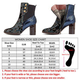 Socofy Bohemian Vintage Ankle Boots Women Shoes Zipper Pointed Toe High Heels Printed Genuine Leather Boots Ladies Shoes Botas