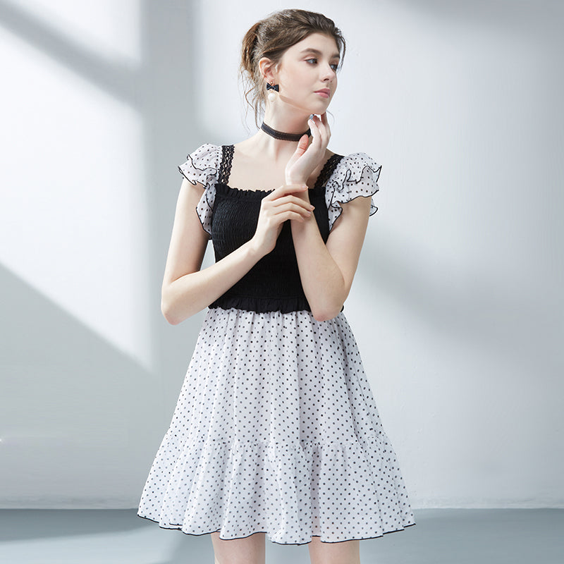 Speaker short-sleeved chiffon dress female wave point princess dress 2020 summer new temperament Slim was thin dress a word
