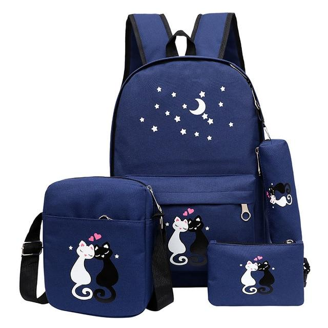 Women Backpack Schoolbag 4 pcs set lovely Cute Cartoon Cat Print School Bag Backpacks for Teenage Girls Daypack Rucksack Moclila - Cadeau Me