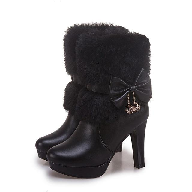 Women Boots Autumn Winter Warm Fur 2018 New Sexy Fashion Pu Mid-calf Motorcycle Snow Boots Black Pink White High-heeled Shoes - Cadeau Me