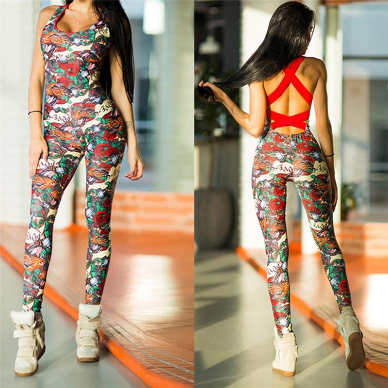 Women Fitness Yoga Jumpsuit Sports Suit Floral Backless Female Gym Tracksuit Sexy Ladies Workout Jogging Set Running Sportswear